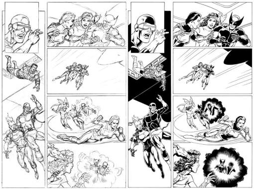 X-Men Gold page 9 pencils and inks by Bob McLeod (click to enlarge)